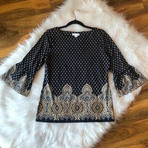 Charter Bell Sleeves Ikat Print Top Stretch Small